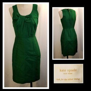 Kate Spade Green Silk Bow Sleeveless Dress 0